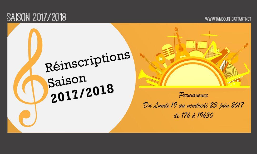 Réinscriptions pour la saison 2017/2018
